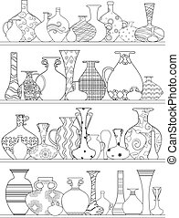 kleuren, planken, vazen, ornament, boek, ethnische , jouw