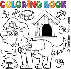 kleuren, politie, boek, dog