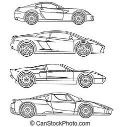 kleuren, set, auto's, vector, reeks, sportende