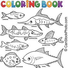 kleuren, set, boek, gevarieerd, thema, 1, vissen