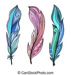 kleuren, set, elements., pattern., doodle, van een stam, veertjes, hand, boho, vector, creativity., getrokken, element, jouw