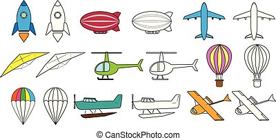 kleuren, set, illustratie, lucht, vector, book., vervoeren