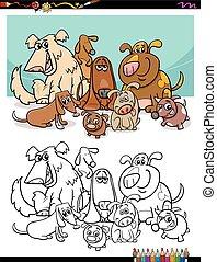 kleuren, spotprent, honden