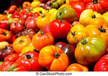 kleuren, tomaten, erfstuk, geassorteerd