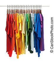 kleuren, van, regenboog, overhemden, op, houten, hangers