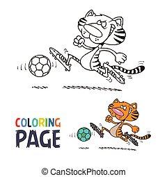 kleuren, voetbal, pagina, tiger, spotprent, spelend