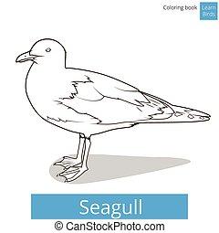 kleuren, vogels, vector, leren, zeemeeuw, boek