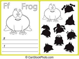 kleuren, worksheet, alfabet, raadsel, -, geitjes, een-z, oefeningen, boek