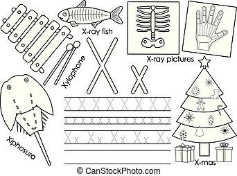kleuren, x., leren, alfabet, practice., schrijvende , vector, book., brief, engelse , children., opleiding, illustration.