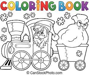 kleurend boek, kerstmis, trein, 1