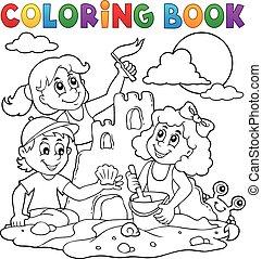 kleurend boek, kinderen, en, zandkasteel