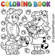 kleurend boek, kinderen, met, huisdieren