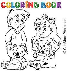kleurend boek, kinderen, met, speelgoed, 1