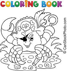 kleurend boek, krab, zeerover