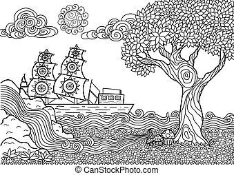 kleurend boek, landscape
