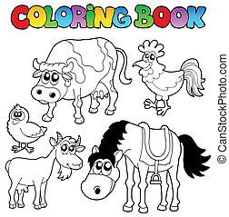 kleurend boek, met, boerderij, stripfiguren