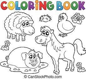 kleurend boek, met, boerderijdieren, 4