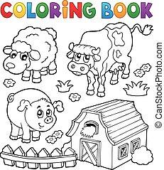kleurend boek, met, boerderijdieren, 6