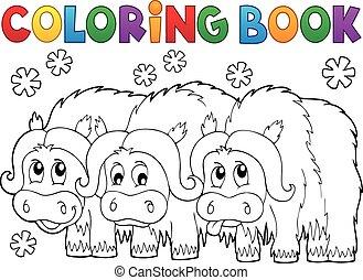 kleurend boek, met, drie, muskoxen