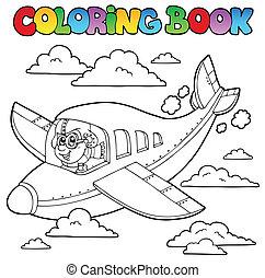 kleurend boek, met, spotprent, vliegenier