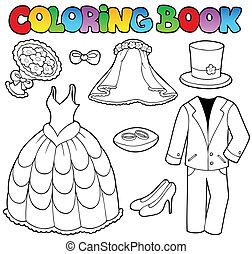kleurend boek, met, trouwfeest, kleren