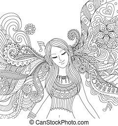 kleurend boek, muziek, volwassene, meisje, luisteren