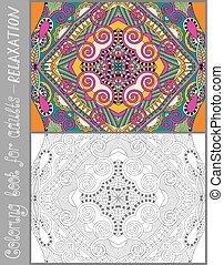 kleurend boek, pagina, voor, volwassenen, -, bloem, paisley,...