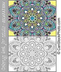 kleurend boek, pagina, voor, volwassenen, -, bloem, paisley...