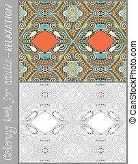 kleurend boek, pagina, voor, volwassenen, -, bloem, paisley ontwerp