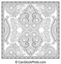 kleurend boek, plein, pagina, voor, volwassenen, -, ethnische , floral, tapijt