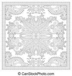 kleurend boek, plein, pagina, voor, volwassenen, -, ethnische , floral, tapijt, desi