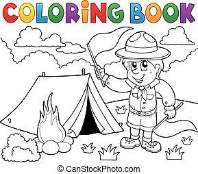 kleurend boek, verkenner, jongen, met, vlaggen