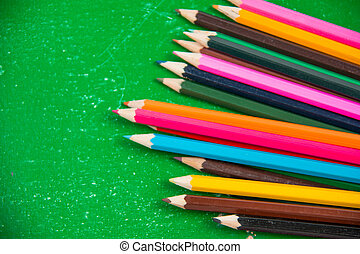 kleurpotlood, potlood, kleurrijke, verticaal