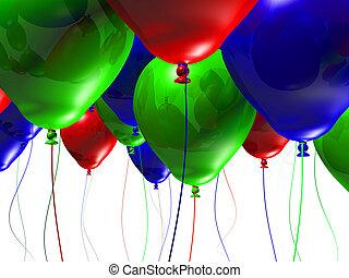 kleurrijke, 3d, ballons