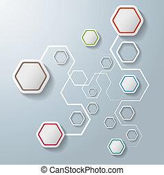 kleurrijke, abstract, aansluitingen, zeshoeken, infographic,...
