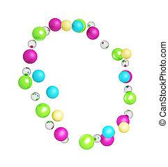 kleurrijke, abstract, bolen, achtergrond, vrijstaand, gemaakt, het glanzen, frame, witte