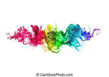 kleurrijke, abstract, motieven, vlam, achtergrond, witte