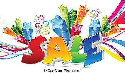 kleurrijke, abstract, tekst, verkoop, vector