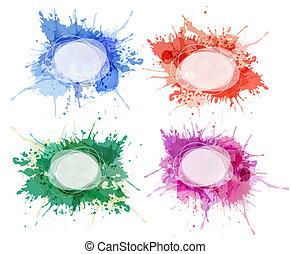 kleurrijke, abstract, verzameling, watercolor, vector., ...