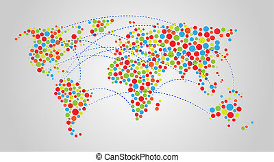 kleurrijke, abstract, wereldkaart