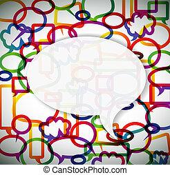 kleurrijke, achtergrond, gemaakt, van, toespraak, bellen