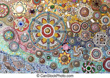 kleurrijke, achtergrond, muur, kristal