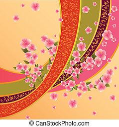 kleurrijke, achtergrond, sakura