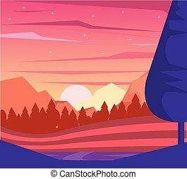 kleurrijke, achtergrond, van, dageraad, landscape, van, bergen, en, vallei