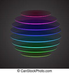 kleurrijke, afgesnijdenene, bol, op, donkere achtergrond