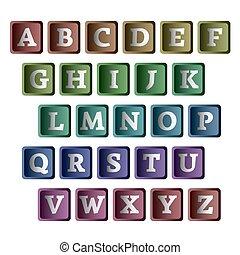 kleurrijke, alfabet, in, de, vorm, van, buttons.