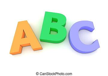kleurrijke, alfabet, van, bovenzijde