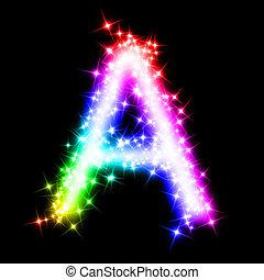 kleurrijke, alfabetbrief, -, een