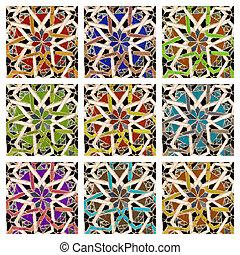 kleurrijke, antieke , mozaïek, tegels, collage