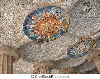 kleurrijke, architectuur, door, antonio, gaudi., parc guell, is, de, meest, ik